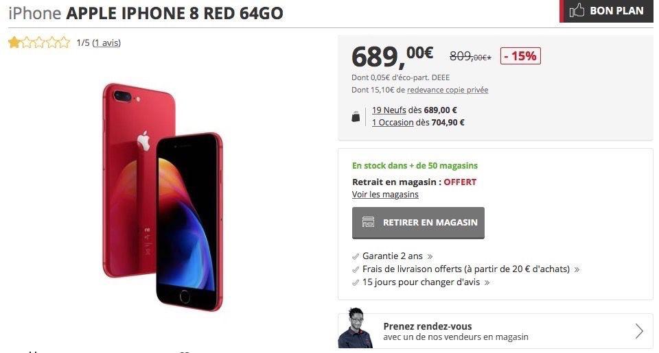 Darty vend le 8 à 689 € (64 Go) et 859 € (256 Go). Pour le 8 Plus c est 799  € (64 Go) et 969 € (256 Go). On trouve des prix similaires chez Boulanger. d12a0f1c9212