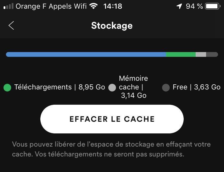 le nouveau reglage distingue la musique telechargee par l utilisateur 8 95 go dans cet exemple de celle stockee en cache par l application 3 1 go a ce