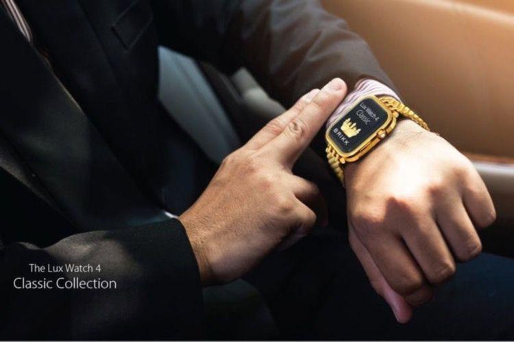 De l'or 18 carats pour faire briller le poignet avec l'Apple Watch grand luxe de Brikk