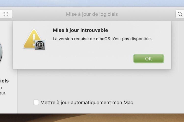 Mojave ne télécharge plus les anciennes versions de macOS [MàJ]