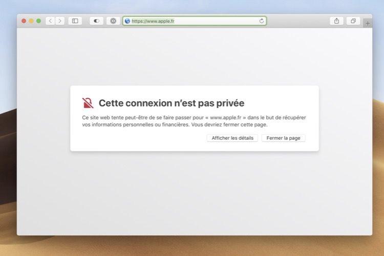 Oups, une erreur de certificat HTTPS sur le site d'Apple 🤭 [MàJ]