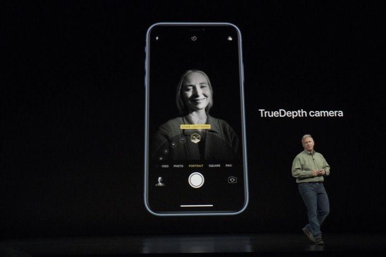 Le mode portrait de l'iPhoneXR est plus complet en façade