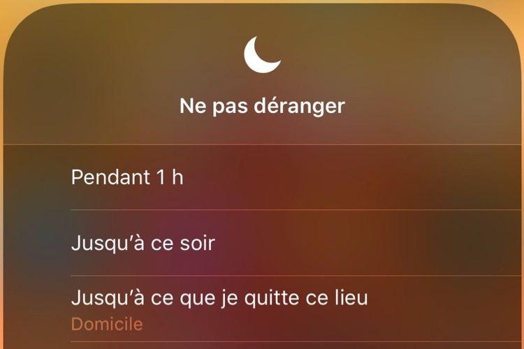 Astuce iOS12: activer le mode «Ne pas déranger» pour le lieu en cours