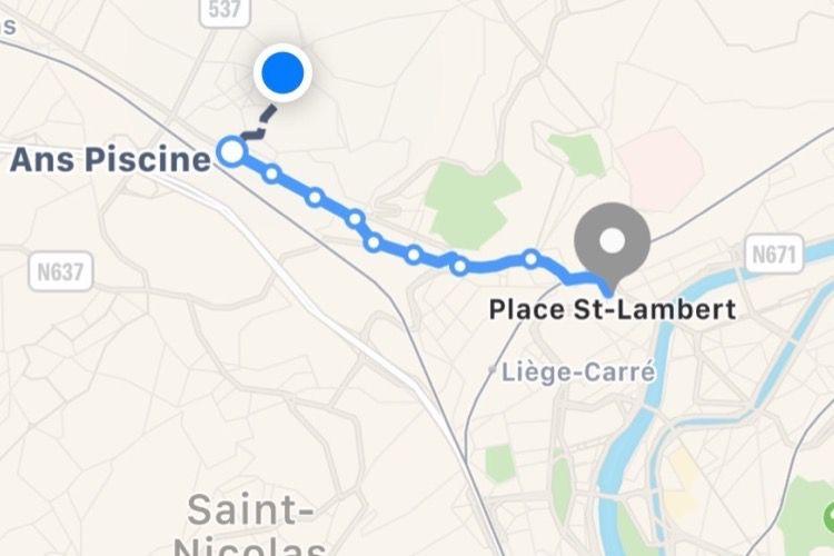 Belgique : Plans affiche les itinéraires en transports en commun