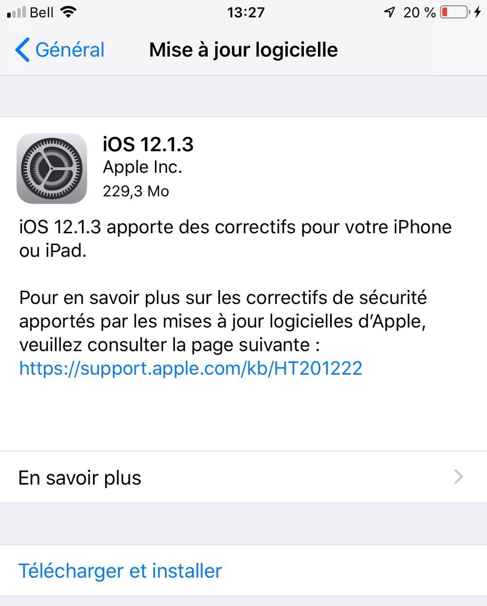 La dernière mise à jour d'iOS corrige plusieurs bugs
