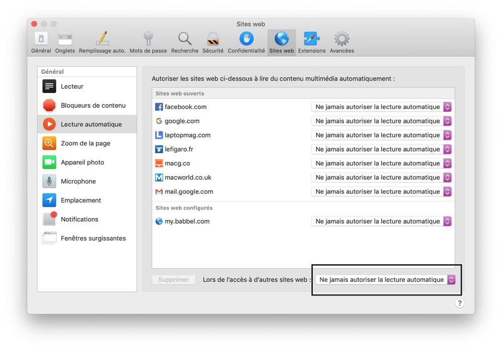💡 Astuce : bloquer par défaut la lecture des vidéos avec Safari