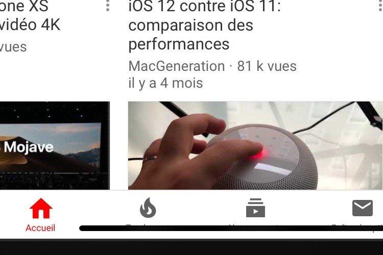 Sur l'iPad Pro, l'app YouTube se rit de la barre d'accueil