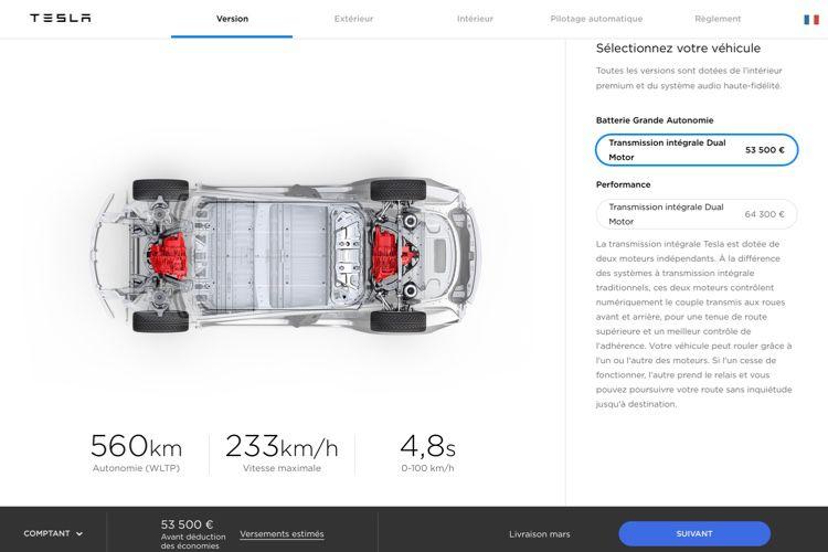 Tesla ouvre le configurateur de la Model3 à tous en France