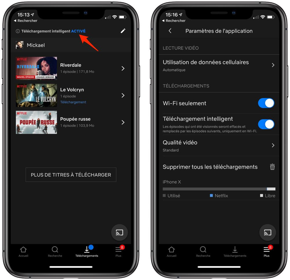 Netflix : le téléchargement intelligent débarque sur la version iOS de l'application