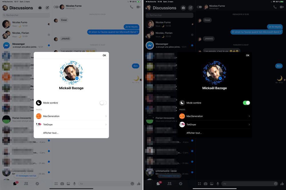 Le mode sombre de Messenger sur un iPad.