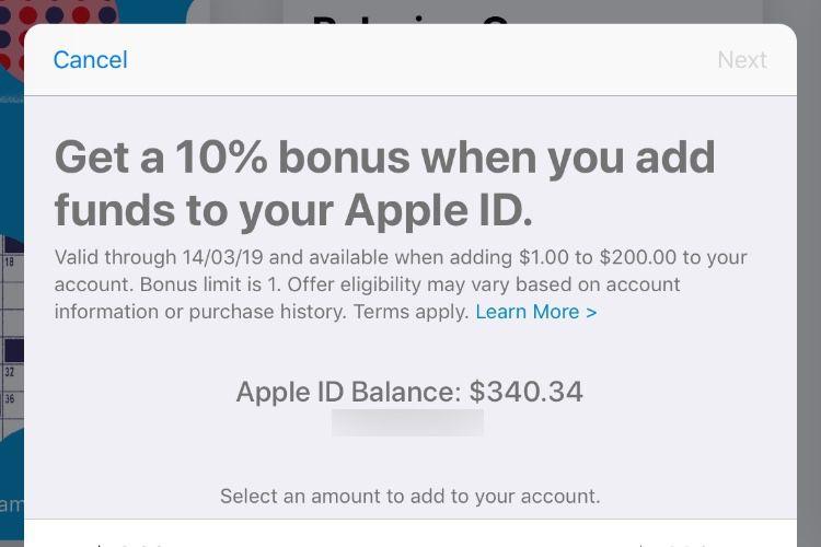 Ajoutez des fonds à un compte iTunes, Apple offre un bonus de 10% (aux États-Unis)