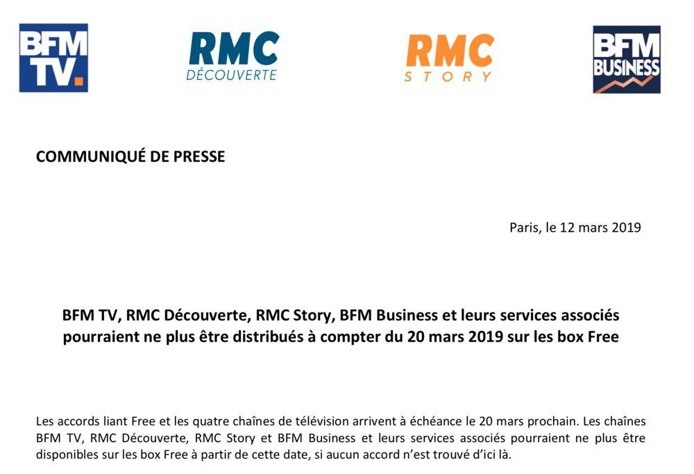 Freebox : BFMTV et RMC Découverte bientôt indisponibles par manque d'accord avec Free ?