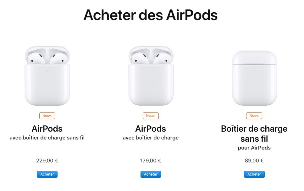 Les nouveaux AirPods avec leur boîtier de recharge sans fil