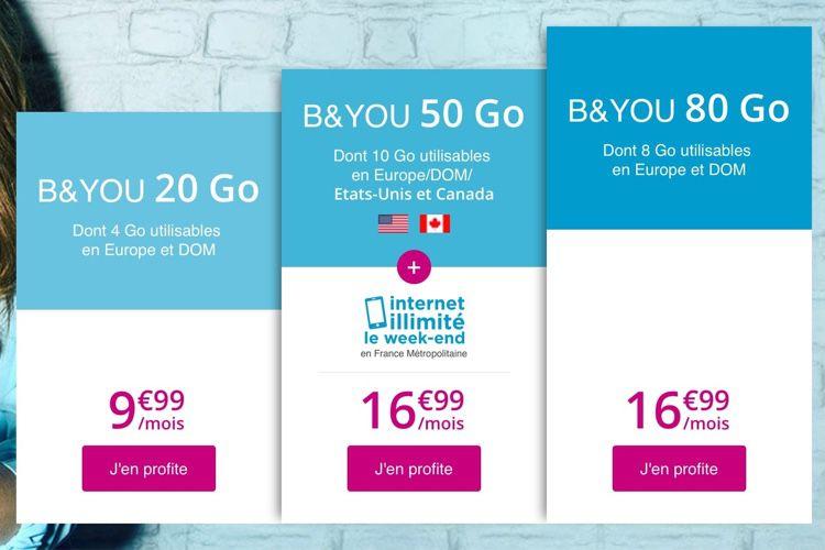 Promo : 80Go de 4G pour 17€ à vie chez B&You, 60 Go de 4G pour 10 € à vie chez La Poste Mobile