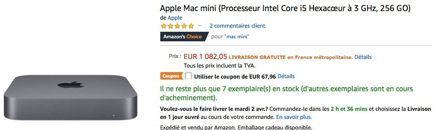 MacBook Pro, MacBook Air Retina et Mac mini 2018, Amazon