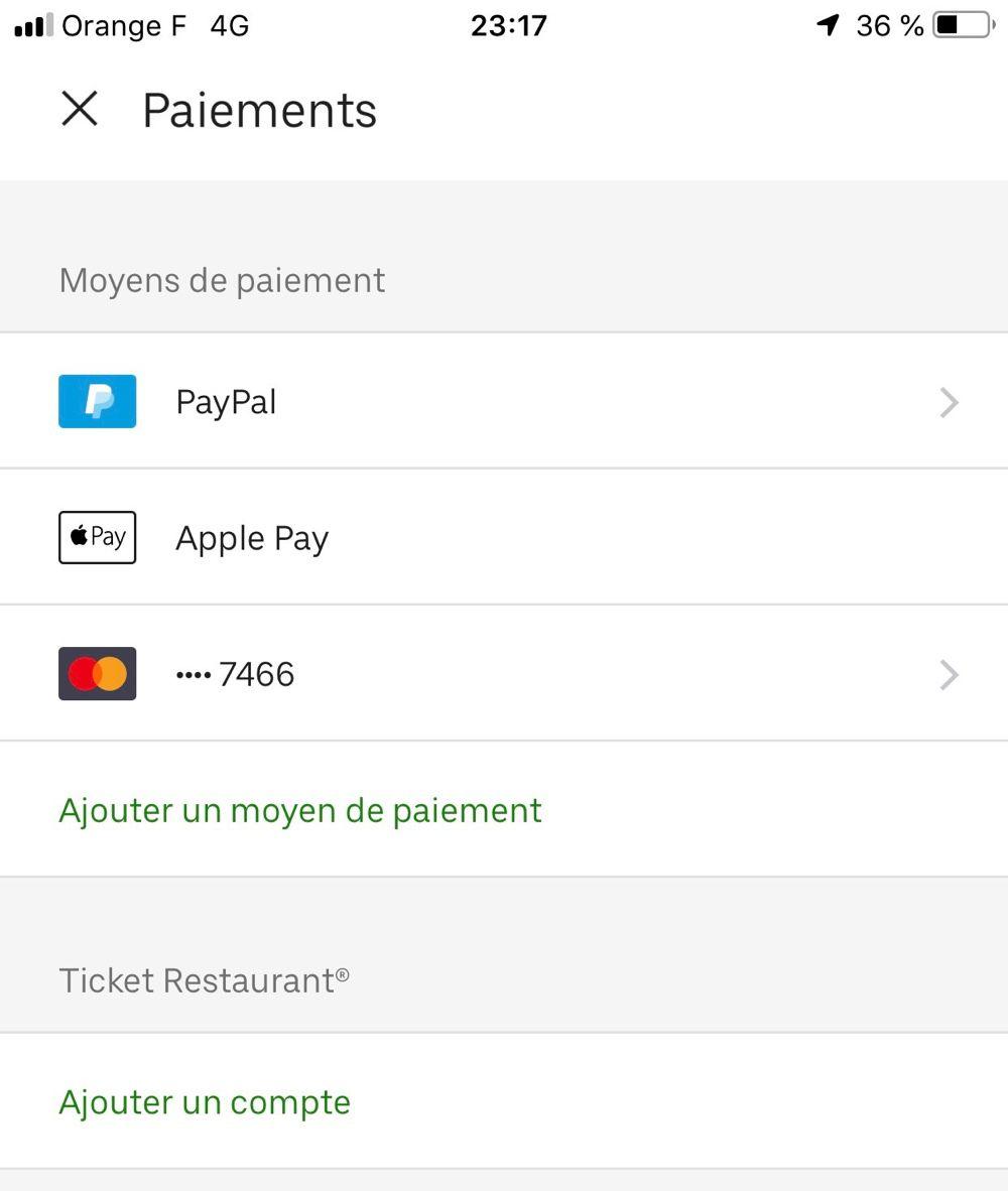 Carte Bleue Uber.Apple Pay Pour Payer La Livraison De Plats Dans Uber Eats