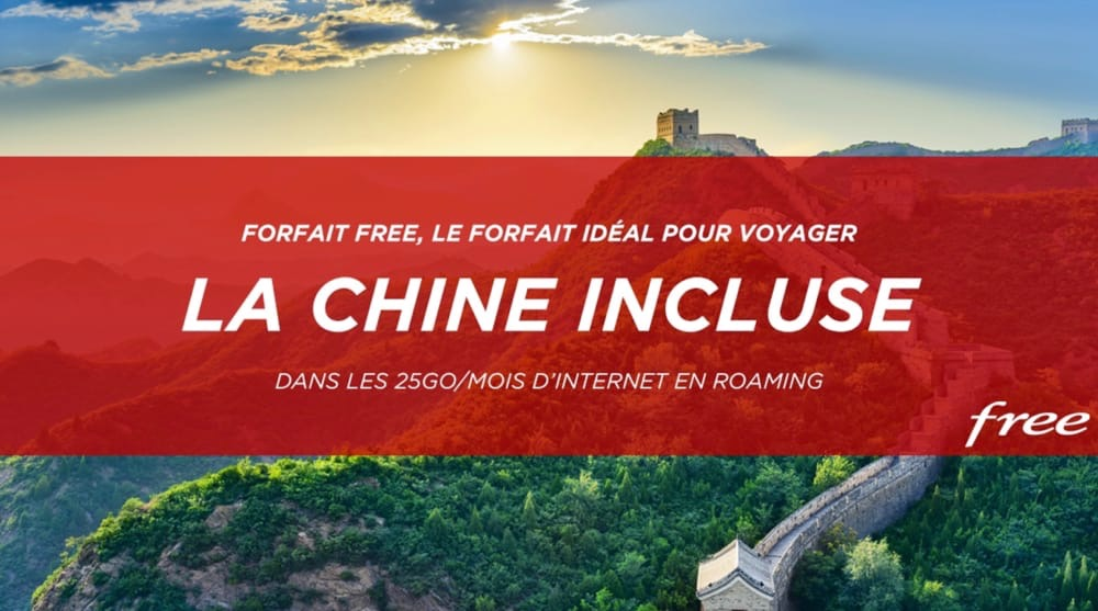 Free: Le Forfait mobile inclus la data en roaming depuis la Chine