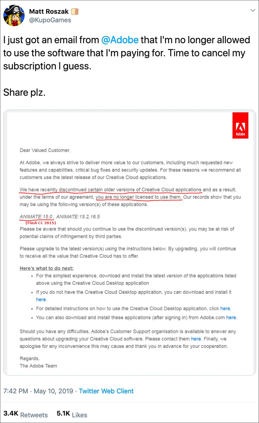 Creative Cloud: Adobe Intimate customers are no longer