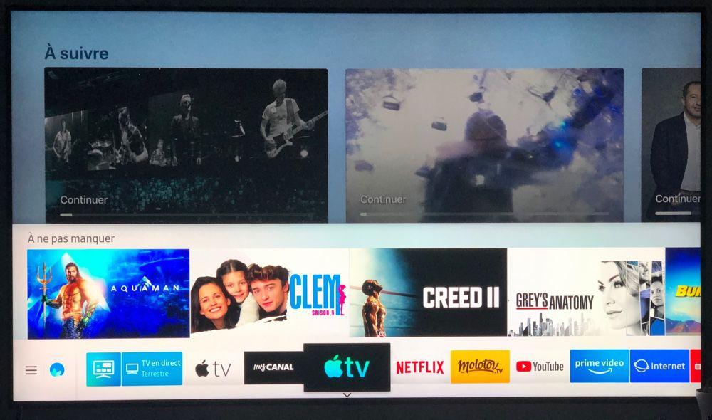 Smart TV Samsung : premier coup d'œil sur l'app Apple TV et