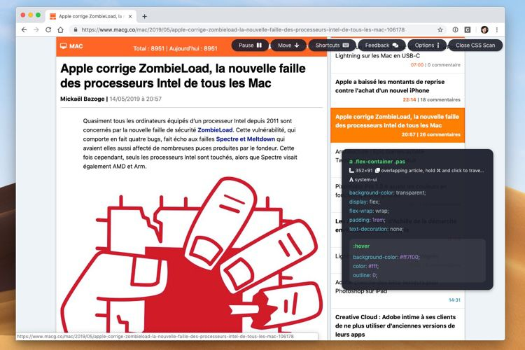 CSS Scan simplifie l'analyse du style des sites dans Chrome et Firefox