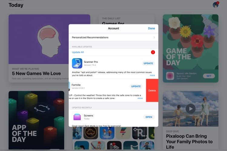 iOS13 permet de supprimer une app au lieu de la mettre à jour