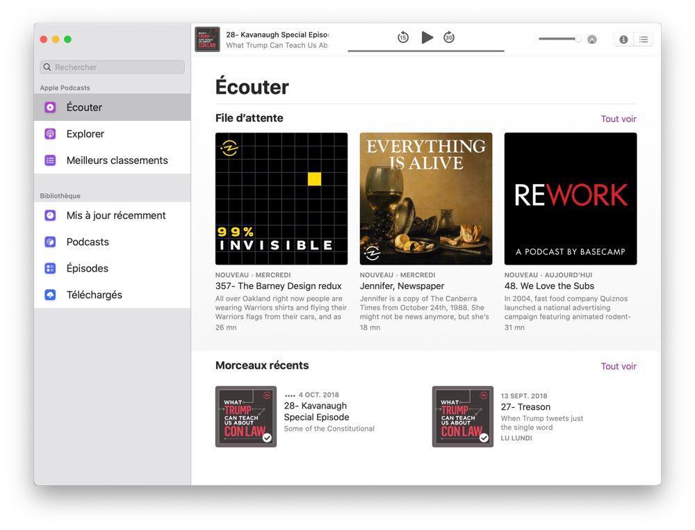Sur macOS Catalina, l'app Podcasts reprend un peu d'iPad