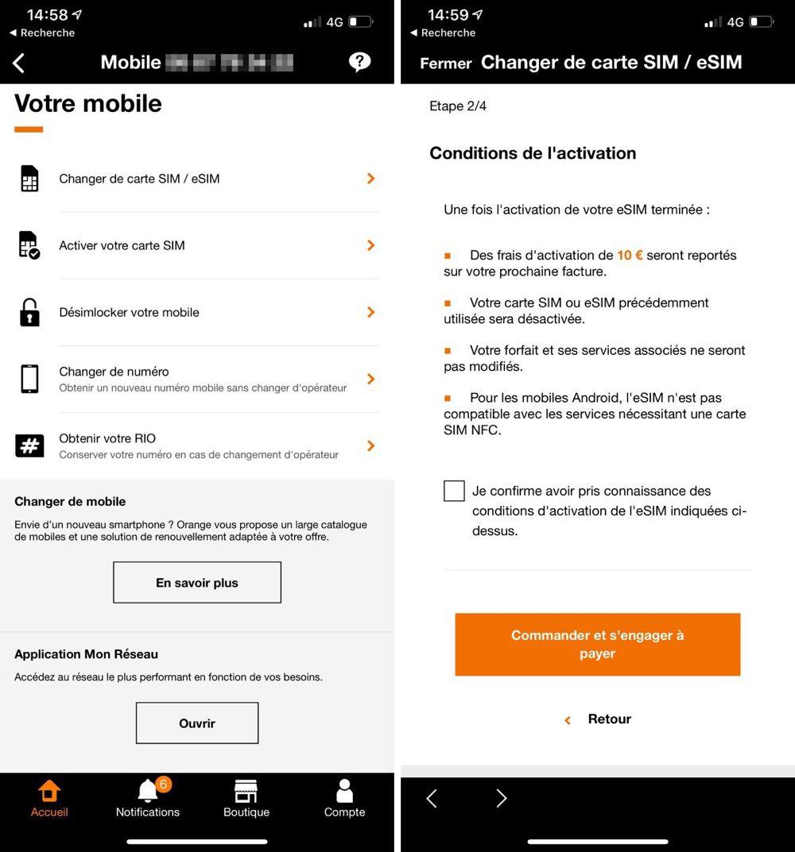 changer de carte sim sosh Orange et Sosh compatibles avec l'eSIM des iPhone XS et XR [màj