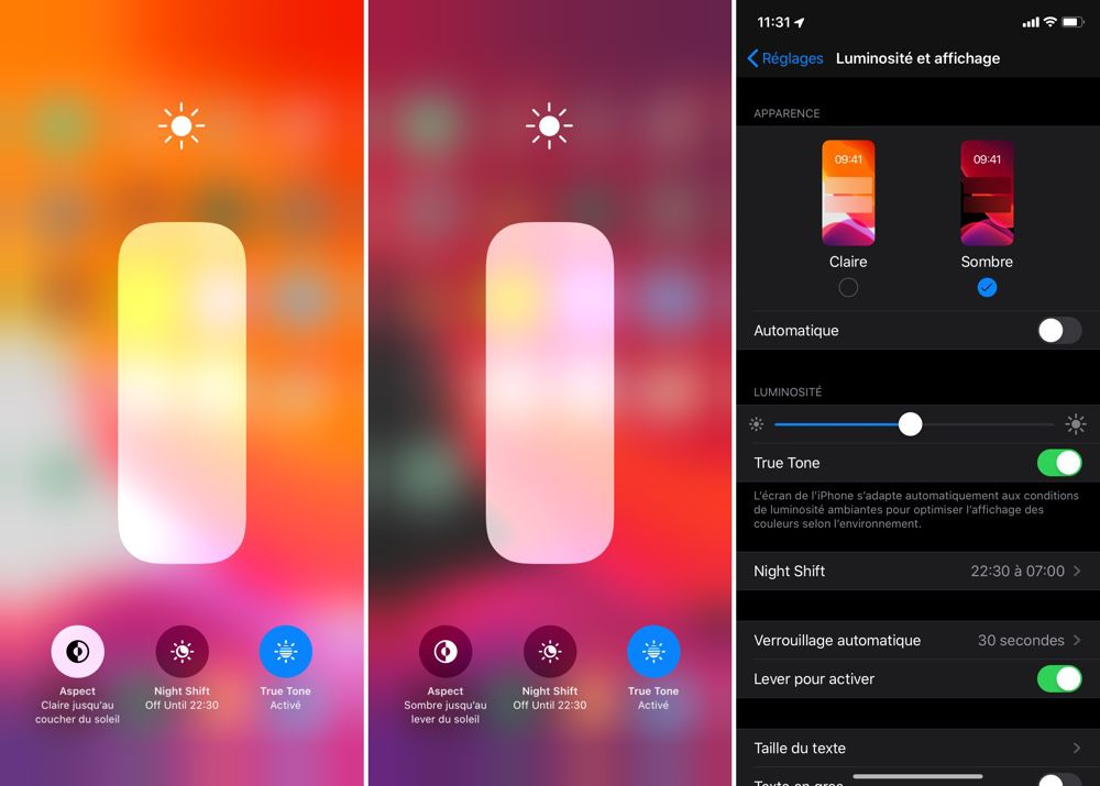 iOS 13  visite de l\u0027interface en mode sombre