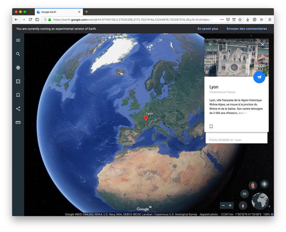 Google Earth accessible sur des navigateurs supplémentaires, mais pas