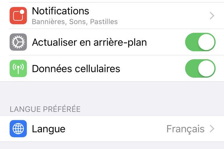 Vous pouvez changer la langue de n'importe quelle app avec iOS13