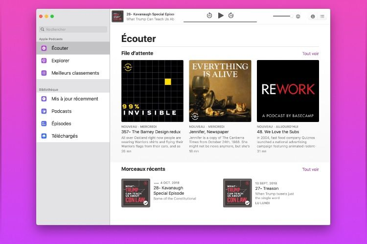 Sur macOS Catalina, l'app Podcasts reprend un peu d'iPad