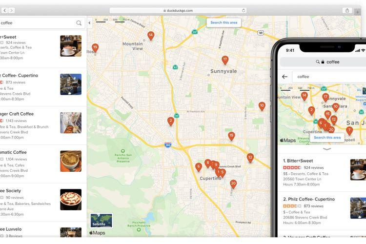 DuckDuckGo complète son concurrent de Google Maps basé sur les cartes d'Apple