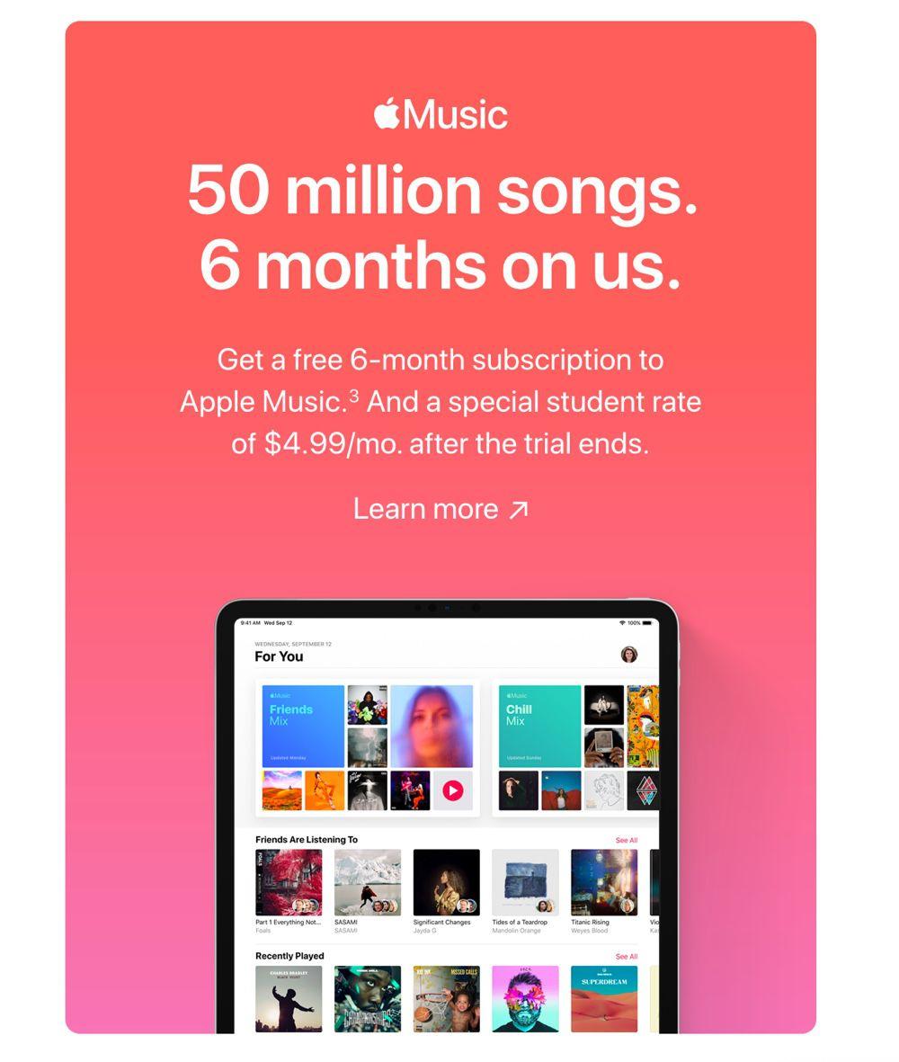 Apple Music offert pour 6 mois aux étudiants — Back to school
