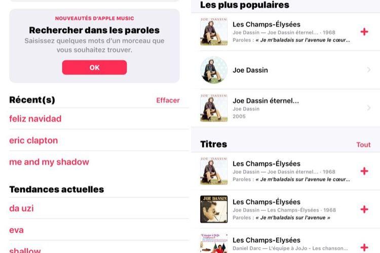 AppleMusic: la fonction «Recherche dans les paroles» disponible en Belgique