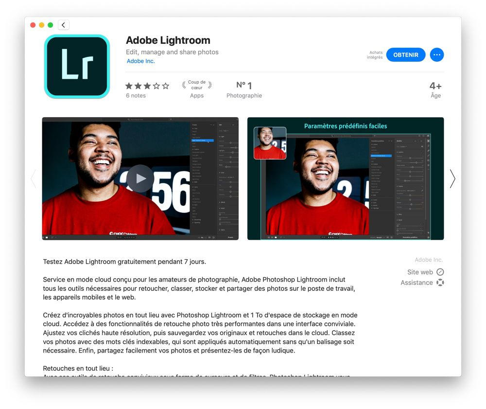 Lightroom : l'abonnement du Mac App Store finalement aligné sur celui