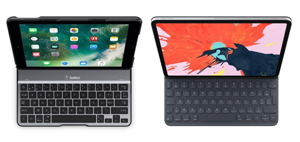 iPad Pro 11 pouces : 247,6 mm x 178,5 mm : 468 g.   iPad 2018 9,7 pouces : 240 mm x 169, 5 mm : 469 g.  Smart Keyboard Folio 11 pouces : 294 g.   Belkin Qode Ultimate Lite : 365 g.