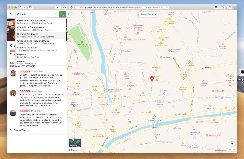 DuckDuckGo complète son concurrent de Google Maps basé sur