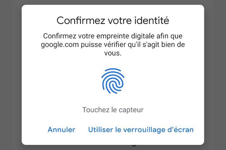Sous Android, le capteur d'empreintes pour s'identifier dans les services en ligne de Google