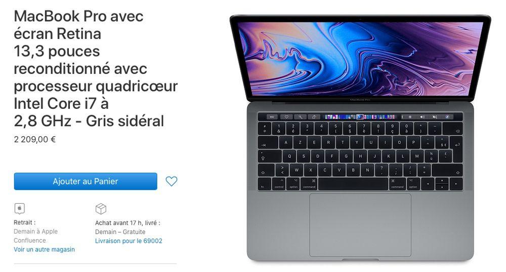 """Refurb : jusqu'à -470 € sur des MacBook Pro 13"""" 2019"""