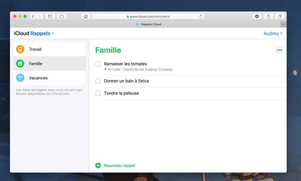 En passant par iCloud.com sur un Mac équipé de macOS Mojave, j'accède à nouveau à mes rappels iCloud.