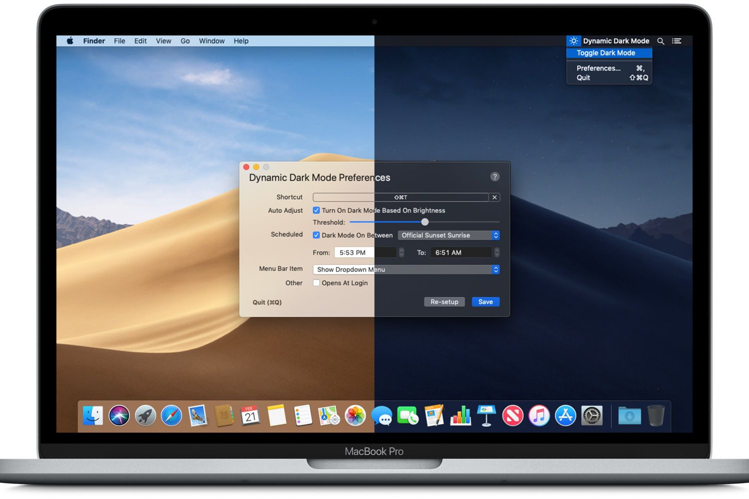 Dynamic Dark Mode, des options pour le mode sombre de macOS