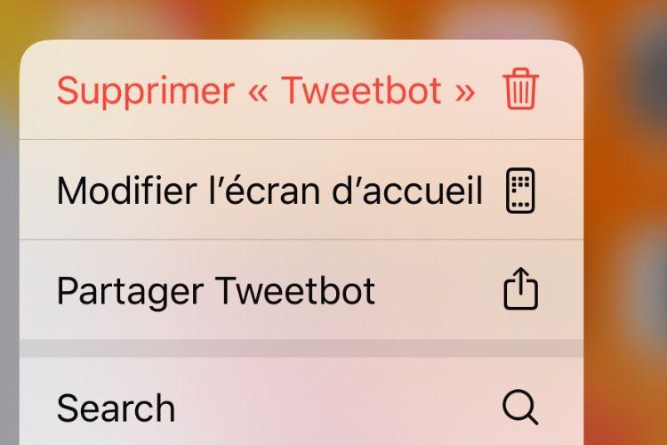 Avec iOS13.2, le menu Haptic Touch permet de supprimer une application