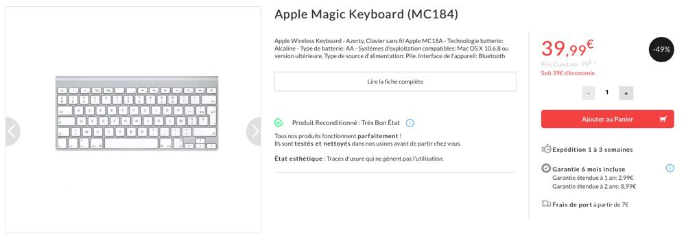 Promo : l'ancien Magic Keyboard Bluetooth à 47 €