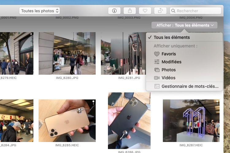 macOS10.15.1 : retour du menu d'affichage par tri dans Photos