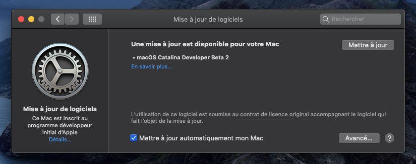 macOS 10.15.1 : deuxième bêta pour les développeurs