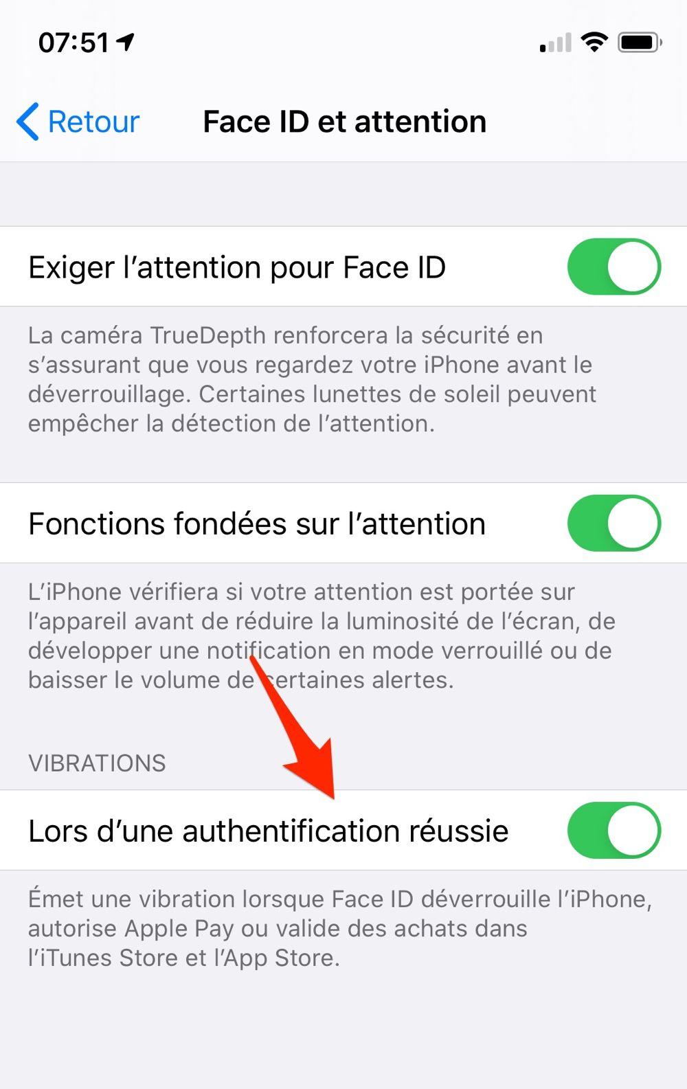 Un retour haptique astucieux lors du déverrouillage Face ID