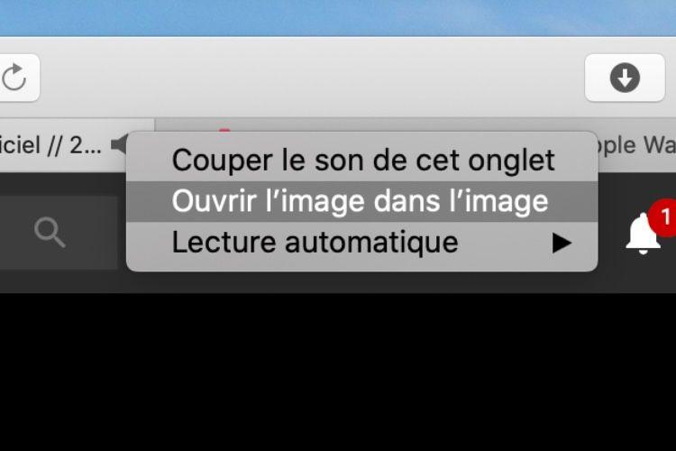 Avec Safari 13, le mode image dans l'image s'active d'un clic