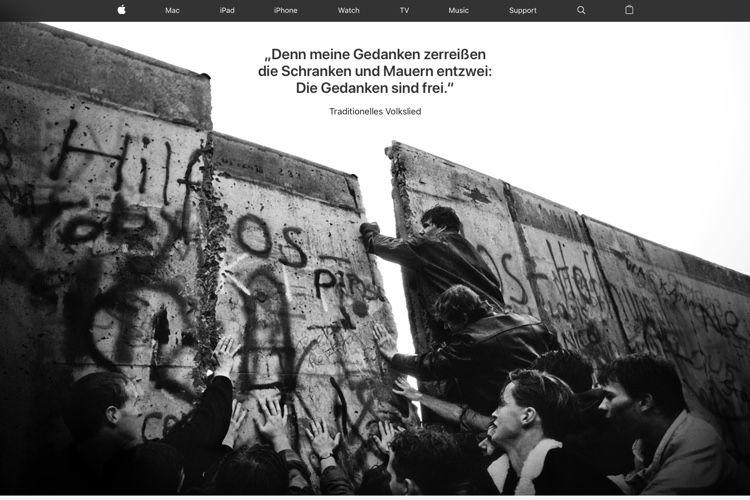 image en galerie : Apple Allemagne célèbre la chute du Mur de Berlin