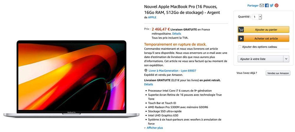 """Le MacBook Pro 16"""" a été moins cher sur Amazon pendant quelques"""