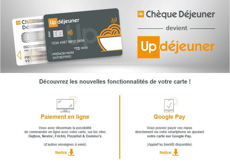 ma carte cheque dejeuner Up Chèque Déjeuner « bientôt » compatible Apple Pay | iGeneration